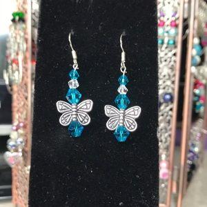 Beautiful blue handmade butterfly earrings